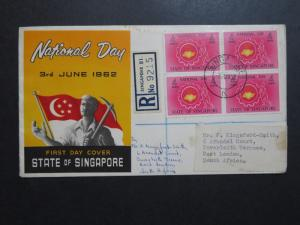 Singapore 1962 National Day FDC to South Africa - Z8639