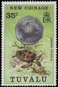 Tuvalu #19-22, Complete Set(4), 1976, Marine Life, Coins, Never Hinged
