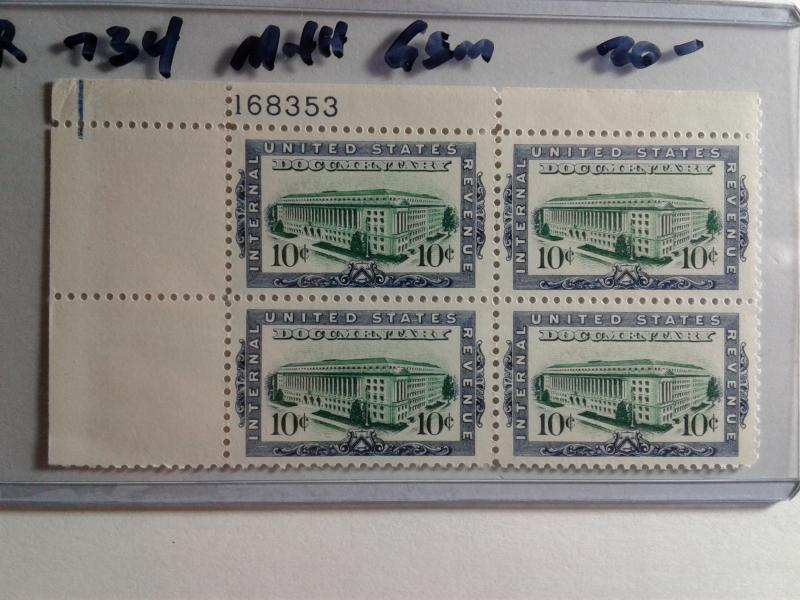 SCOTT # R 734 MINT NEVER HINGED PLATE BLOCK GEM ESTABLISHED 1862  REMOVED !!