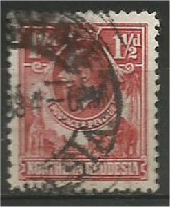 NORTHERN RHODESIA, 1925, used 1 1/2p, King George V Scott 3