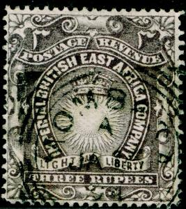 BRITISH EAST AFRICA SG17, 3r slate-purple, FINE USED, CDS. Cat £55.
