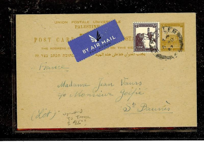 PALESTINE (P2603B) 1947 PSC UPRATED A/M TO FRANCE WITH MSG
