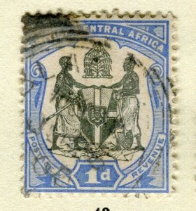 NYASALAND; 1897 early classic Central Africa. Wmk issue fine used 1d. value