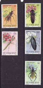 St. Vincent-Sc#593-7-Unused NH set-Insects-Oleander-1979-