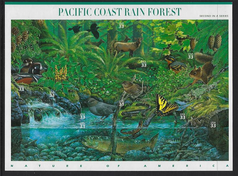 Catalog # 3378 Souvenir Sheet of 10 Stamps Pacific Coast Rain Forest