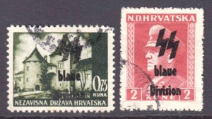 CROATIA 2 UNLISTED BLAUE DIVISION OVERPRINTS CDS VF SOUND #2 $$$$$$$