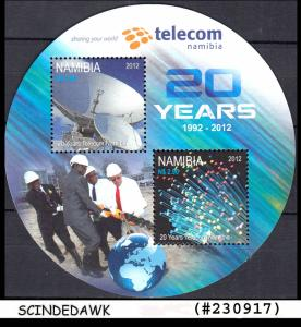 NAMIBIA - 2012 20 years of TELECOM - ROUND IN SHAPE SOUVENIR SHEET MNH