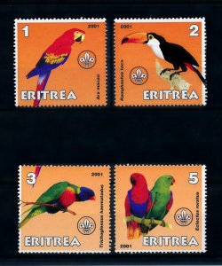 [102188] Eritrea local issue 2001 Birds vögel oiseaux parrots scouting  MNH