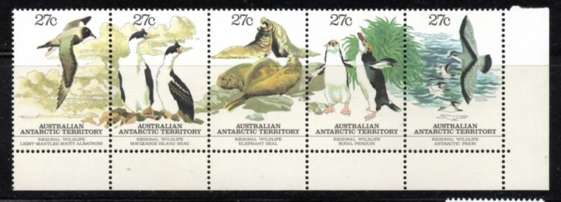 Australian Antarctic Territory Sc L55 1983 local wildlife stamp strip mint NH