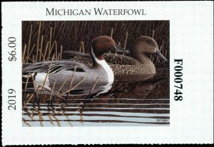 MICHIGAN  #44  2019 STATE DUCK STAMP PINTAILS by Paul Bridgford