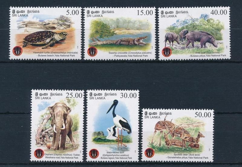 [38453] Sri Lanka 2013 Wild Animals Elephant Wild boar Deer Crocodile MNH