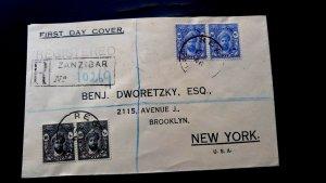 """Extrem Selten Zanzibar 1947 """"Registered"""" 1. Day Cover To USA Empfangen Abbrechen"""