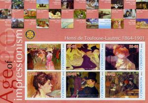 UZBEKISTAN 2002 Toulouse Lautrec Paintings Rotary Sheet Perforated mnh.vf