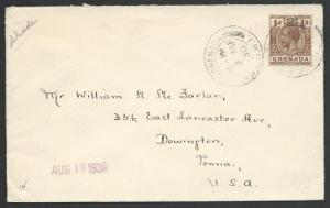 GRENADA 1930 cover GV 1d rate to USA.......................................51400