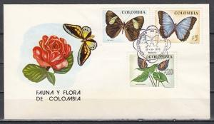 Colombia, Scott cat. 842-844. Butterflies issue on a First day cover.