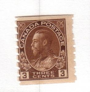 Canada Sc 129 1818 3c brown George V coil stamp mint NH