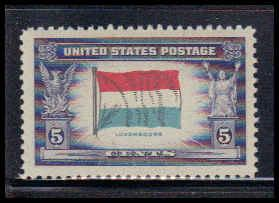 912 5c Flag of Luxembourg Fine MNH W3816