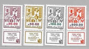 Israel #876-879 MNH with Tabs