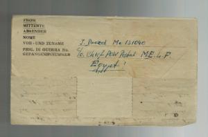 1947 Egypt MELF German POW Prisoner of War Ltr Cover to Paraguay Antonio Aerts