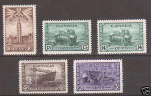 Canada Sc 257-261 MLH. 1942 War Issue, fresh & VF