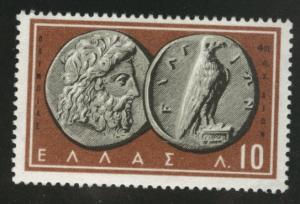 GREECE Scott 639 MH* 1959  coin on stamp