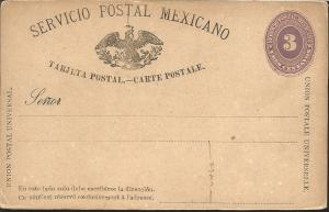 J) 1884 MEXICO, NUMERAL, 3 CENTS PURPLE, MEXICAN POSTAL SERVICE, EAGLE, POSTCARD