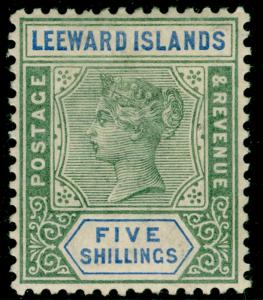 LEEWARD ISLANDS SG8, 5s green & blue, LH MINT. Cat £140.