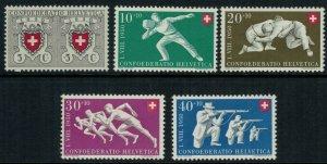 Switzerland B191-5* NH CV $20.00 complete set semi-postal postage stamps