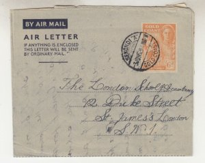GOLD COAST, Air Letter, 1952 KGVI 6d., SEKONDI A to GB.