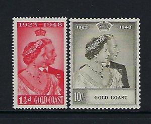 GOLD COAST SCOTT #142-143 1948 GEORGE VI SILVER JUBILEE   MINT LIGHT HINGED