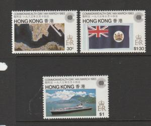 Hong Kong 1983 Commonwealth day, the 3 vals, Wmk Crown to Right of CA, UM/MNH SG