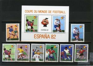 ZAIRE 1982 Sc#1019-1027 SOCCER WORLD CUP SPAIN SET OF 8 STAMPS & S/S MNH