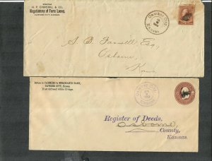 Lawker City Kansas Fancy Tooth Cancels On 2 Covers 1887-1888