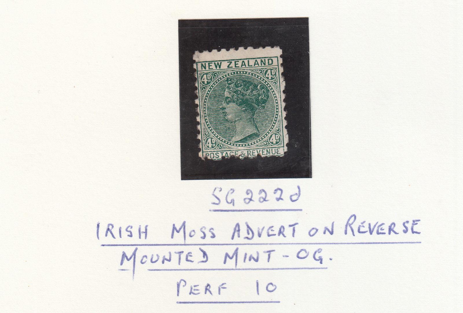 NEW ZEALAND 1892 4d GREEN SG222D BONNINGTONS IRISH MOSS