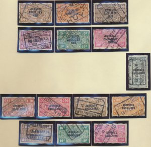 Belgium Stamp Scott #P7//P40, Used, 15 Different Newspaper, High Denominations