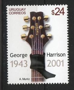 George Harrison Music Beatles Rock Musician guitar URUGUAY Sc#1982 MNH STAMP $5