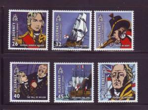 Alderney Sc 250-5 2005 200 yrs Battle of Trafalgar stamps...
