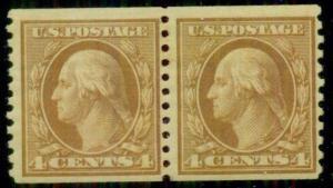 US #495 4¢ orange brown, coil pair, unwmk, p. 10, og, NH, VF, Scott $50.00