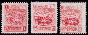 Nicaragua Scott O82-83, O87 (1896) Mint H F-VF B