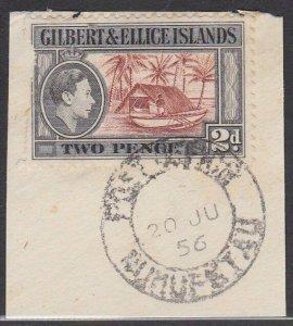 GILBERT & ELLICE IS GVI on 1956 piece POST OFFICE / NUKUFETAU cds...........N472