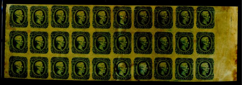 CSA #121d MINT Block of 30 VF OG Toned gum cpl creases some stains EstVal$1000