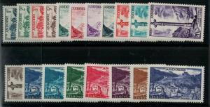 Andorra French 1872 SC 124-142 MNH SCV $205 Set