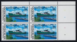 Micronesia C20 TR Block MNH Return of Nauruans from Truk, Ship