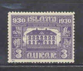 Iceland Sc 152 1930 3 aur Parliament stamp mint