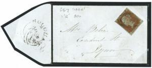 N192 1848 GB Norfolk Rougham 1844 Numeral '657' 1d Imperf' Lynn