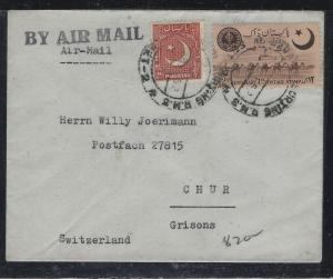 PAKISTAN (P2304B)   2A CRESCENT+2A STAMP CENT A/M TO SWITZERLAND
