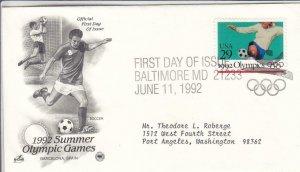 1992, Summer Olympic Games-Soccer, Artcraft/PCS, FDC (D15373)