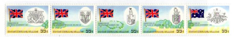 COCOS ISLAND 60a MH STRIP/5 SCV $1.75 BIN $0.75 FLAGS AND COATS OF ARMS