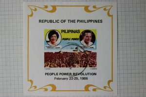Philippines SS Sc1799 souvenir sheet used People Power Revolution maze watermark