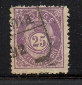 Norway Sc 45 1884 25 ore violet post horn stamp used